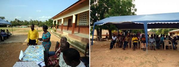 Otinibi School Headmistress (Blue Dress) Addressing Villagers