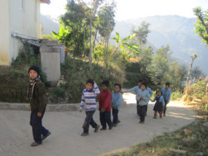 Students walking to FFP Nepal before classes