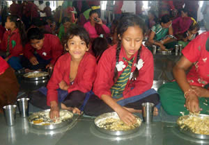 Children enjoying a nutritious meail at FFP Nepal