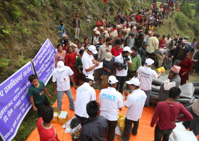 Emergency supplies being distributed in Sindhupalchok.