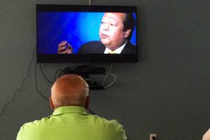 Veteran watching TV