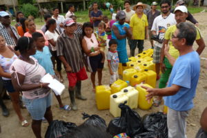 Distributing emergency supplies to families
