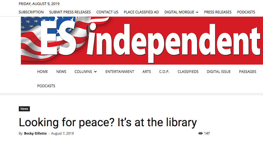 "Eureka Springs Independent: ""Looking for Peace? It's at the Library"""