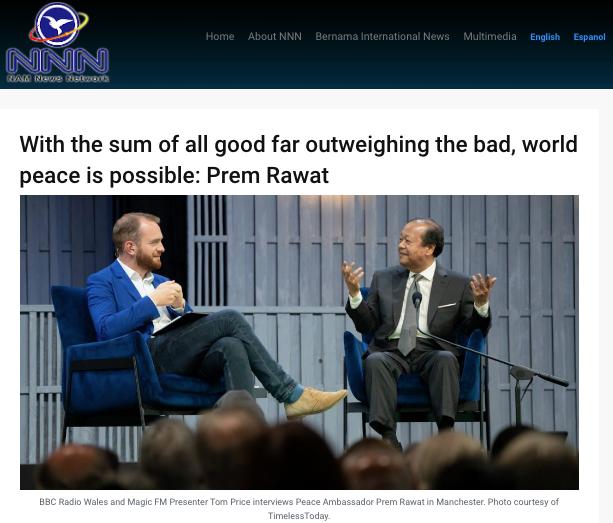 Un article sur Prem Rawat et l'éducation pour la paix par l'agence de presse Nam News