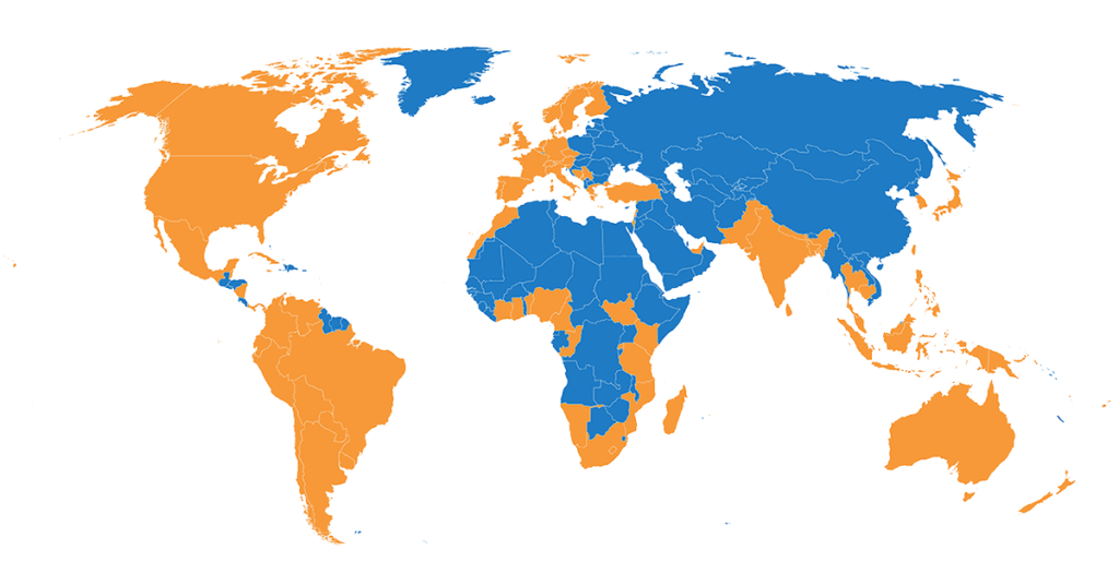 World map showing countries offering Peace Education program (highlighted in orange)