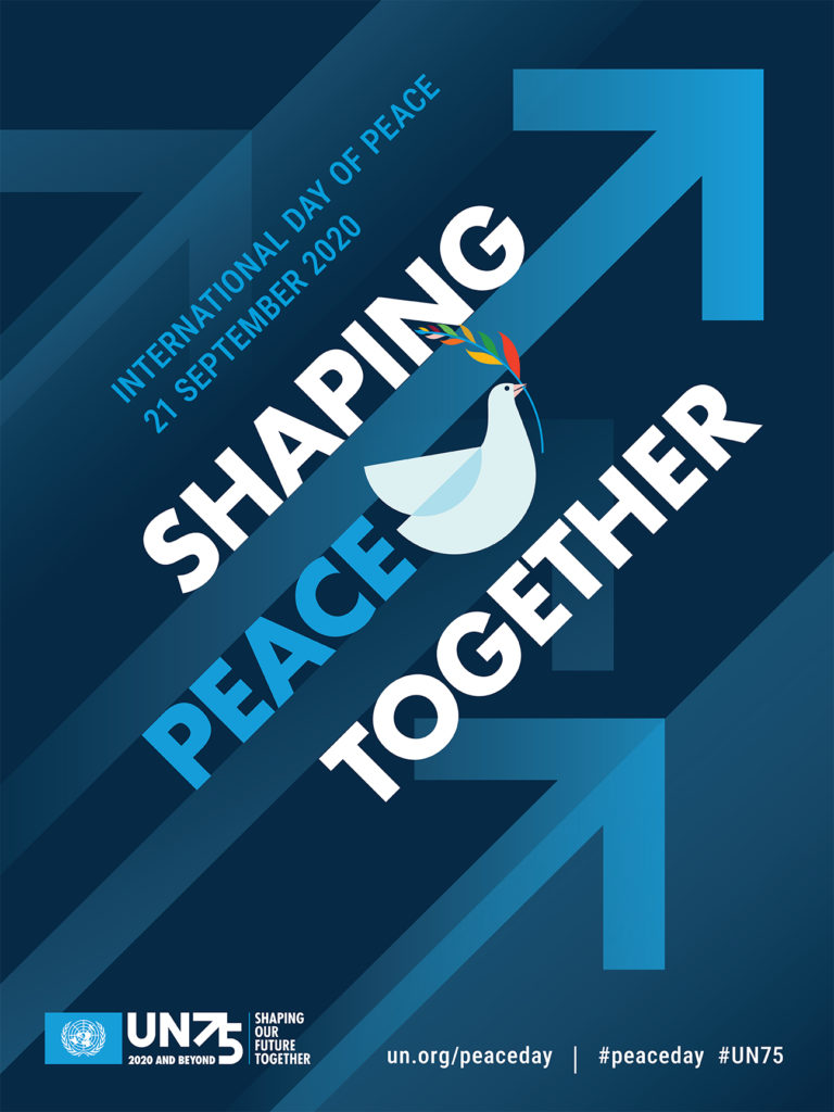 This flyer promotes Peace Day, encouraging us to be a voice for peace and shape peace together.