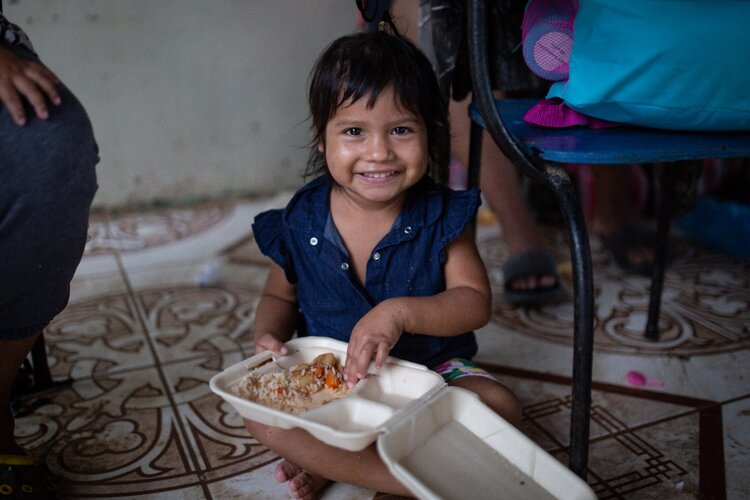 The Prem Rawat Foundation is working with WCK to feed victims of Hurricanes Iota and Eta like this child.