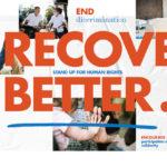 """Dieser Flyer der Vereinten Nationen zum Tag der Menschenrechte mahnt zu einem """"verbesserten Wiederaufbau""""."""